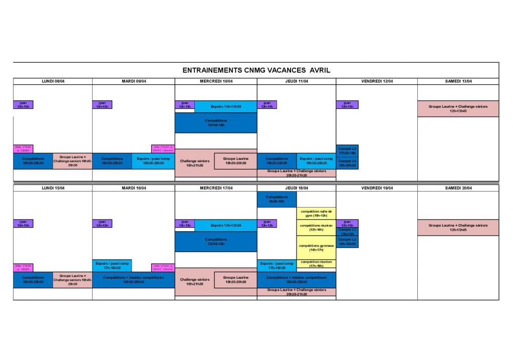 Entrainements Vacances Avril