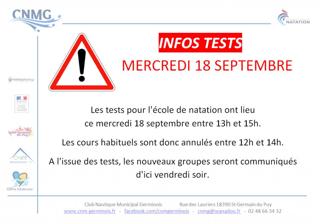 Tests mercredi 18 septembre