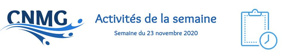 Activités de la semaine 23/11
